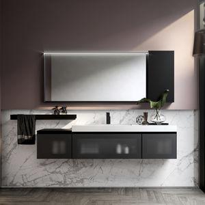 mueble de lavabo doble / suspendido / de pie / de madera