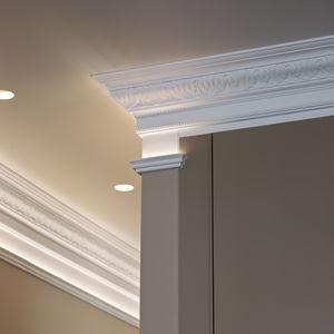 cornisa para techo / de poliuretano / prefabricada / de exterior