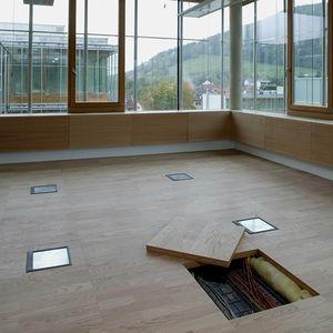 suelo técnico de madera / acústico / de interior / para sala blanca