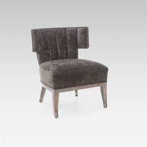 sillón bajo contemporáneo / de tejido / de haya / a medida
