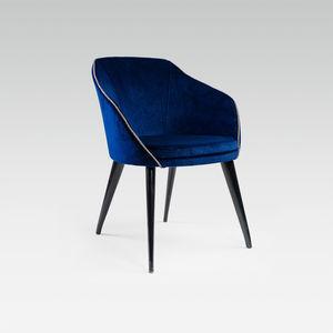 silla contemporánea / tapizada / con reposabrazos / de tejido
