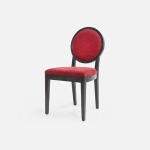 silla clásica / tapizada / con reposabrazos / medallón