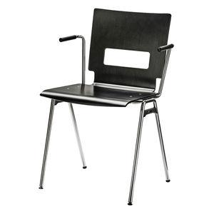 silla de visita contemporánea / con reposabrazos / tapizada / apilable