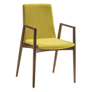 silla de visita contemporánea / con reposabrazos / tapizada / de madera
