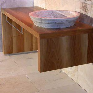 mueble de lavabo de pie / de madera maciza / de travertino / contemporáneo