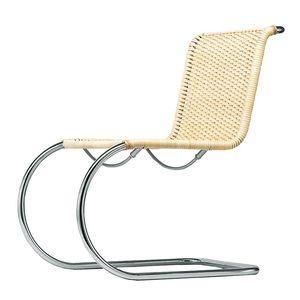 silla de diseño Bauhaus / cantilever / de mimbre / de cuero