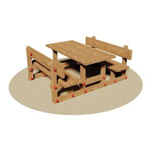 conjunto de mesa y banco rústico