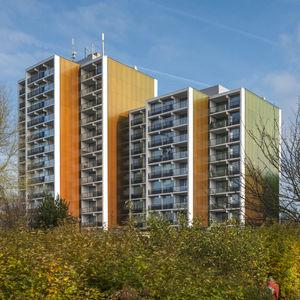 revestimiento de fachada de paneles / de material compuesto / de basalto / liso
