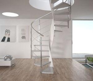 escalera helicoidal / estructura de metal / con peldaños de madera / con peldaños de vidrio