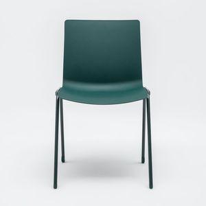 silla contemporánea / apilable / de acero con revestimiento en polvo / para el sector servicios