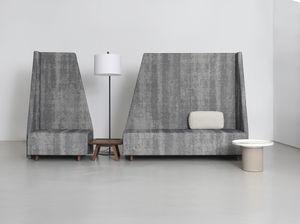 banqueta modular / contemporánea / de tejido / de cuero