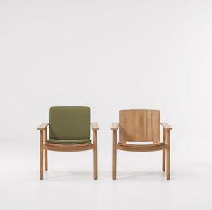 sillón contemporáneo / de teca / club / con cojín amovible