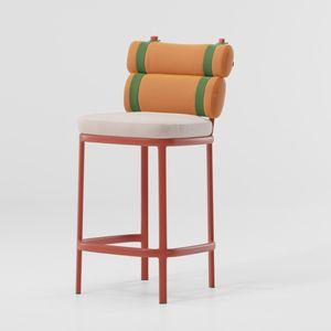 silla de bar contemporánea / con reposapiés / tapizada / de aluminio