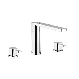 grifo mezclador para lavabo / de libre instalación / de acero inoxidable / de baño
