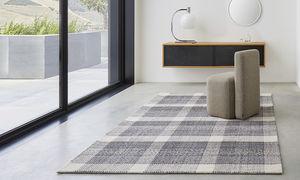 alfombra contemporánea / a cuadros / de lana / de algodón