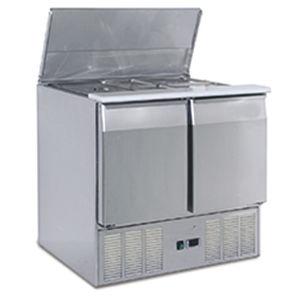 mesa fría para ensaladas profesional / con 2 puertas / refrigerada