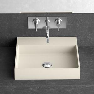 lavamanos sobre encimera / rectangular / de cerámica