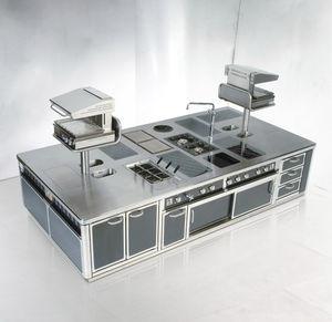 cocina profesional de acero inoxidable / con isla / con asideros