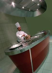 cocina profesional de acero inoxidable / modular / sin pomos
