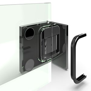 bisagra para puerta de cristal / para ducha / de zamak / con sistema de cierre automático