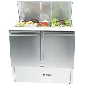 mesa fría para ensaladas profesional / de acero inoxidable / refrigerada / con 2 puertas