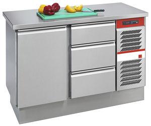 mesa de preparación de acero inoxidable / refrigerada / profesional