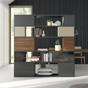 biblioteca modular / biombo / contemporánea / de madera lacada