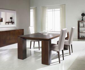 mesa de comedor contemporánea / de nogal / de haya / con base de nogal
