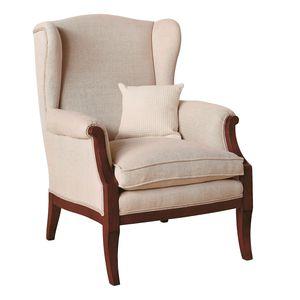 sillón clásico / de tejido / de haya / con orejas