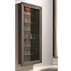 vitrina contemporánea / de pared / de vidrio / de nogal