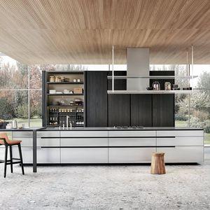 cocina contemporánea / de acero inoxidable / de madera maciza / de nogal