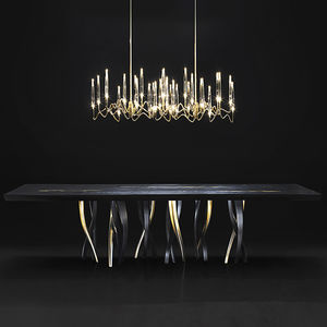 mesa de comedor de diseño original / de madera maciza / de madera tintada / con base metálica pintada