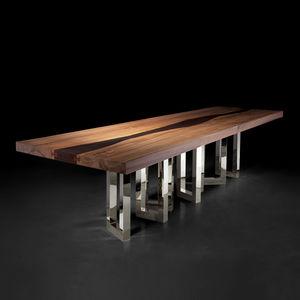 mesa de comedor de diseño original / de madera maciza / de fresno / de nogal americano