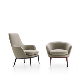sillón contemporáneo / de tejido / de aluminio fundido / giratorio