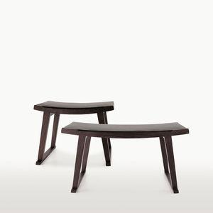 banco contemporáneo / de madera maciza / de cuero / de tejido