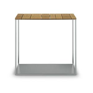 mesita auxiliar contemporánea / de teca / de acero inoxidable / de mármol
