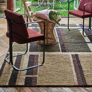 alfombra contemporánea / de rayas / de cáñamo / rectangular