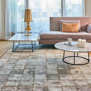 alfombra contemporánea / a cuadros / de lana / de bambú