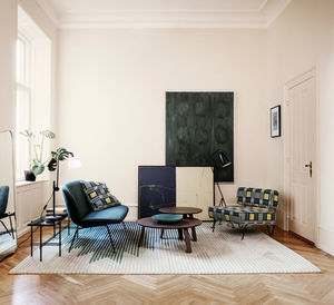 alfombra contemporánea / con motivos / de lana / de fibra de bambú