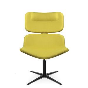 sillón bajo contemporáneo / de tejido / de cuero / con reposapiés