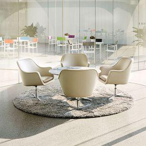 sillón de visita contemporáneo / de cuero / con reposabrazos / tapizado
