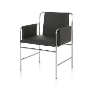 silla de visita contemporánea / con reposabrazos / tapizada / de cuero