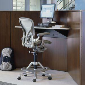 taburete de trabajo contemporáneo / de tejido / con ruedas / tapizado