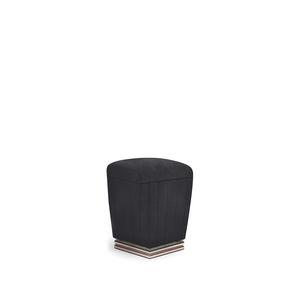 puf clásico / de tejido / de latón / negro
