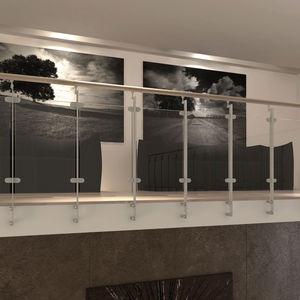 barandilla de vidrio / de acero inoxidable / de hierro / de haya
