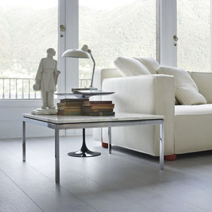 mesa de centro contemporánea / de vidrio / de mármol / con base de acero cromado