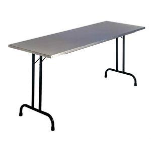 mesa de trabajo plegable / contemporánea / de acero inoxidable / rectangular