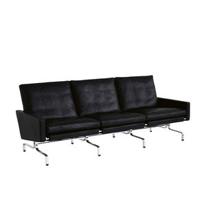 sofá de diseño escandinavo / de cuero / de acero / de acero inoxidable pulido