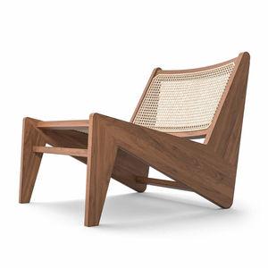 sillón bajo contemporáneo / de roble natural / de tejido / guarda cojines