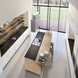 cocina contemporánea / de pizarra / de acero inoxidable / de acero